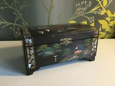 Oriental Hand Painted And Mother Of Pearl Musical Jewellery Box