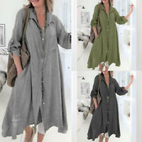 Women's Plus Size Linen Loose Long Sleeve V Neck Shirt Summer Casual Baggy Dress