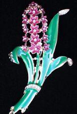 "PINK GREEN RHINESTONE ROSE TULIP LILY HYACINTH FLOWER PIN BROOCH JEWELRY 2.5"""