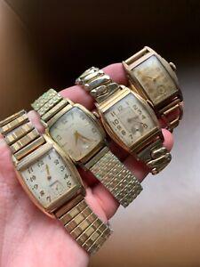 Vintage men's wrist watch lot Art Deco Waltham, Bulova, Gruen, Elgin, Parts NR!!