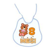 bavaglia bavetta bavaglino bambino azzurro con scritta 8 mesi orsetto maschio