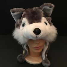 Wolf Hat Or Husky Cap With Flaps Soft Furry Animal Halloween Beanie 1 Size