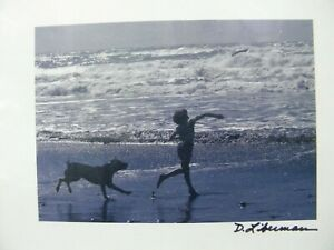 """Art Photo  """"A Boy and His Dog at the Beach"""" D. Liberman 10"""" x 8"""" California"""