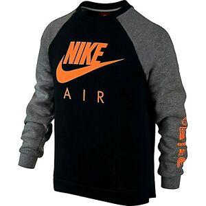 Nike Big Kids' Youth Air Crew Sweatshirt Black/Orange 804727-011 a1 Size M