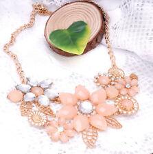 Women Sparkling Crystal Flower Statement Bib Chunky Ladies Necklace Chain
