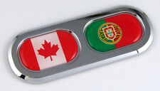 Canada Portugal Double Country Flag Car Chrome Emblem Decal Sticker Badge DC