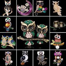 Fashion Rhinestone Crystal Animals Owl Bird Enamel Brooch Pin Costume Jewellery