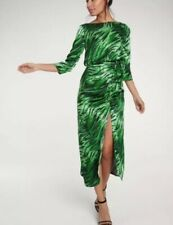 BNWT Green Zebra Animal Print Evening Dress Ruched Side Slit V Back Neck Size 22