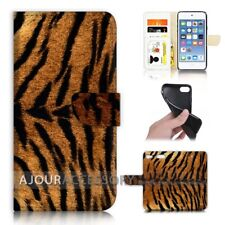 ( For iPod Touch 6 ) Wallet Flip Case Cover AJ40678 Tiger Skin Pattern