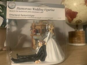 """Wilton Humorous Wedding Figurine """"Now I Have You"""" 4.5"""" H Cake Topper Accent NEW"""