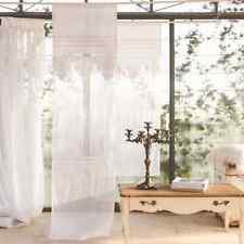 Scheibengardine Gardine Vorhang weiss Landhaus Shabby 45 x 70 Leinen  Mariclo