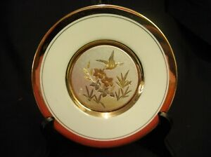 HUMMINGBIRD GOLD RIMMED PLATE ART OF CHOKIN DYNASTY GALLERY KEITO JAPAN ORIGINAL