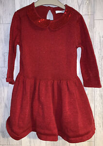Girls Age 18-24 Months - M&S Red Long Sleeved Dress