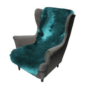Lambskin Chair Cushion short Hair 63x19 11/16in Turquoise Couch Cover Merino Fur