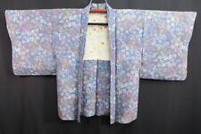 Vintage Japanese Ladies' Blue/Pastel Floral Summer Kimono Haori Jacket 10-14