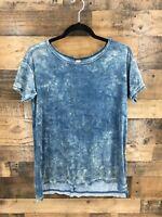 Green Tea Women's Blue Acid Washed Velour Short Sleeve Hi Low Hem Top Size S