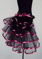 Burlesque Tutu Skirt Bustle Black Pink Belt size 6 8 10 12 Fancy Dress Halloween