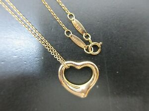 Authentic Excellent Tiffany & Co. Open Heart Necklace 750 K18RG Rose Gold 70978