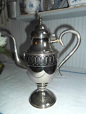 Nr.1:Alte,silberfarbene Kaffeekanne aus Schweden, Kippdeckel und Muster