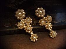 Butler & Wilson Vintage Pearl  and Crystal Drop Earrings. Pierced. Rare
