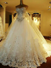 2017 Luxury Bling Bling Crystal Princess Cinderella Bridal Ball Gowns Custom Sz