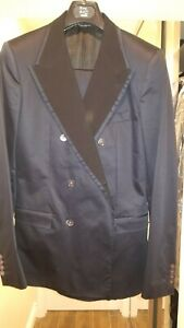 NWT DOLCE AND GABBANA DARK BLUE COTTON SILK DOUBLE BREASTED SUIT RETAILS $3500