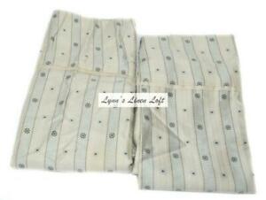RALPH LAUREN Indochine Dobby Stripe STANDARD PILLOWCASES NEW RARE Blue Ivory