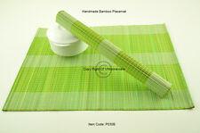 4 Manteles Individuales Hecho a mano de bambú Tabla esteras, Blanco-Verde Marrón P030B