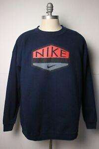 Vintage 90s Nike Air Spellout Center Swoosh Crewneck Sweatshirt XL USA Dark Blue