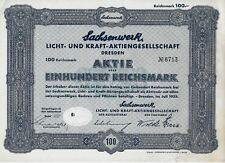 DRESDA 1935 SACHSENWERK  * CERTIFICATO AZIONARIO  ORIGINALE
