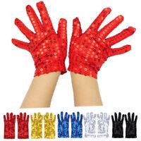 Unisex Deluxe Short Sequin Gloves Party Concert Fancy Dress Costume Dance Gloves