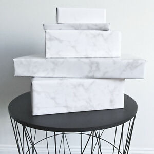 New Ivory & Deene Huge Roll Marble Wrapping Paper Gift Wrap Gloss 15m L x 70cm W