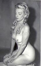 Original Vintage 1940s-60s Nude RP- Blond Fraulein- Long Braids- Sitting on Knee