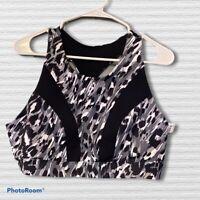 Core 10 Women's Yoga Bralette Sports Bra, Black Grey Animal Print XL 16