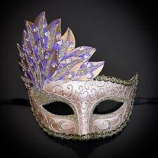Gold & Pink Venetian Leaf Engraving Masquerade Mask for Women M7255