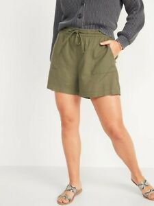 Old Navy High-Waisted Linen-Blend Tie-Front Utility Shorts Women Size XL NWT