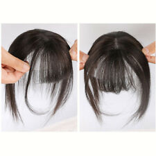 Hand-Made Mono Straight 100% Human Hair Clip in Topper Hairpiece With Flat bang