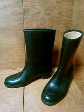"""Vintage Womens Size 6 Black Rubber Rain Boots Waterproof Made in Usa Lined 9.5"""""""