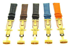 17 18 19 20 21 22 23 24MM LEATHER BAND WATCH STRAP CLASP FOR SEIKO 2B GOLD
