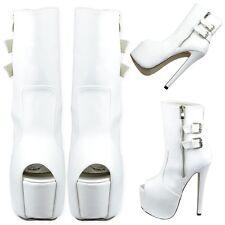 Women Boots Faux Leather Peep Toe Platform Stiletto High Heel Mid Calf Booties