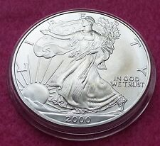 2000 SILVER EAGLE  $1 ONE DOLLAR COIN - LOVELY COIN  ENCAPSULATED