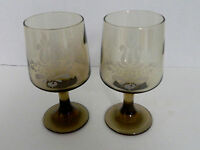 Pfaltzgraff USA Village Brown Etched 10 oz Glassware Goblet Lot of Two