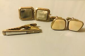 Vintage Yellow Gold Coloured 2 pairs of Cufflinks and tie clip