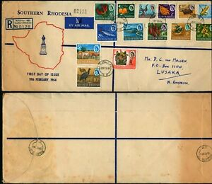 O704 Southern Rhodesia registered cover Northern Rhodesia Bulawayo Lusaka 1964