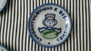 M A HADLEY POTTERY - CONGRATULATIONS & BEST WISHES - COASTER TRINKET DISH PLATE