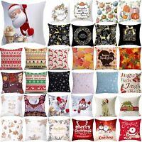 Christmas Thanksgiving Throw Cushion Cover Bed Sofa Waist Pillow Case Home Decor
