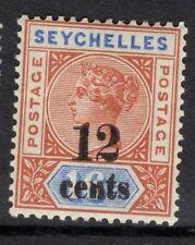 SEYCHELLES SG17 1893 12c on 16c CHESTNUT & BLUE DIE II MTD MINT