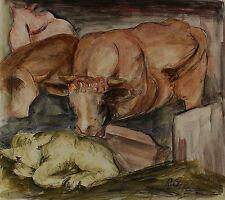 Rudolf Großmann ? - Kuh mit Kalb