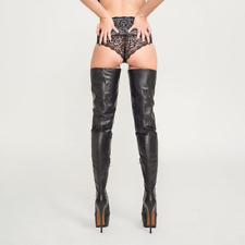 "Black PLATFORM CROTCH BOOTS 6"" stiletto high heel UK1-9 EU34-43 any custom color"