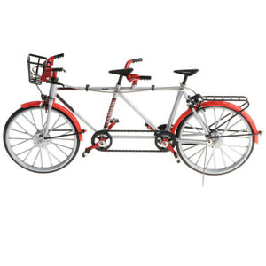 1:10 Alloy Diecast Racing Tandem Bike Model Toy Collections for Kids Red